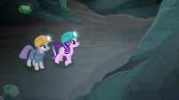 Maud and Starlight looking at granite wall S7E4
