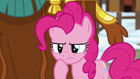 Pinkie Pie looking closely at Yakyakistan S7E11