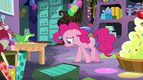 Pinkie Pie pacing in her party-planning cave S7E23