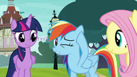 Rainbow Dash rubbing her sore ear S8E18