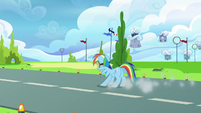 Rainbow Dash skidding to a halt S6E24