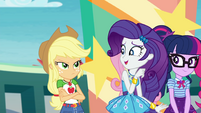 Rarity looks embarrassed at Applejack EGROF