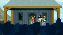 Sheriff Silverstar addresses the crowd S5E6