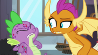 Spike about to yell at Smolder S8E11