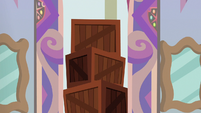Stack of crates outside Twilight's office S8E16