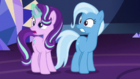 Starlight and Trixie surprised by the Mane Six's return S7E2