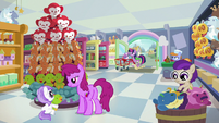 Twilight, Spike, and Flurry enter the toy store S7E3