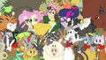Twilight and Fluttershy in a sea of animals EG3b.png