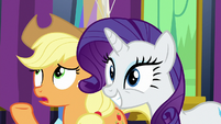 "AJ says ""not exactly"" while Rarity nods her head S7E1"