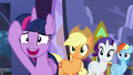 Applejack, Rarity, and Rainbow Dash sees Twilight nervous S5E11.png