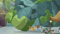 Applejack stops the boulder with her hooves S7E25