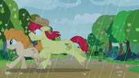 Bright Mac and Pear Butter run through the rain S7E13