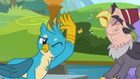 Gallus smacks Grampa Gruff's beak away S8E2