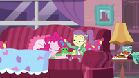 Lily Pad patting Pinkie Pie's sleepy head EGDS3
