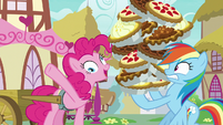 Pinkie Pie gives Rainbow Dash fifteen more pies S7E23