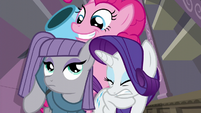 Pinkie smiling while party cannon pops out S6E3
