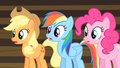 Rainbow, Applejack and Pinkie shocked S4E08.png