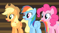 Rainbow, Applejack and Pinkie shocked S4E08