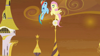 Rainbow Dash and Fluttershy shoot upward S9E2