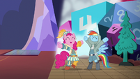 "Rainbow and Pinkie Pie cheer ""guys' night!"" S6E17"