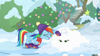 Rainbow laughs at snow-covered Applejack BGES1