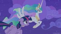 Season 8 promo image - Twilight and Celestia flying at night