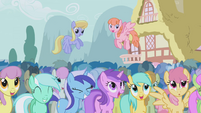 The ponies laugh at Trixie's performance S1E06
