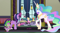 Twilight, Spike, and Celestia look in a classroom S8E1