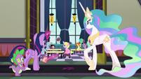 Twilight, Spike, and Celestia look in a classroom S8E1