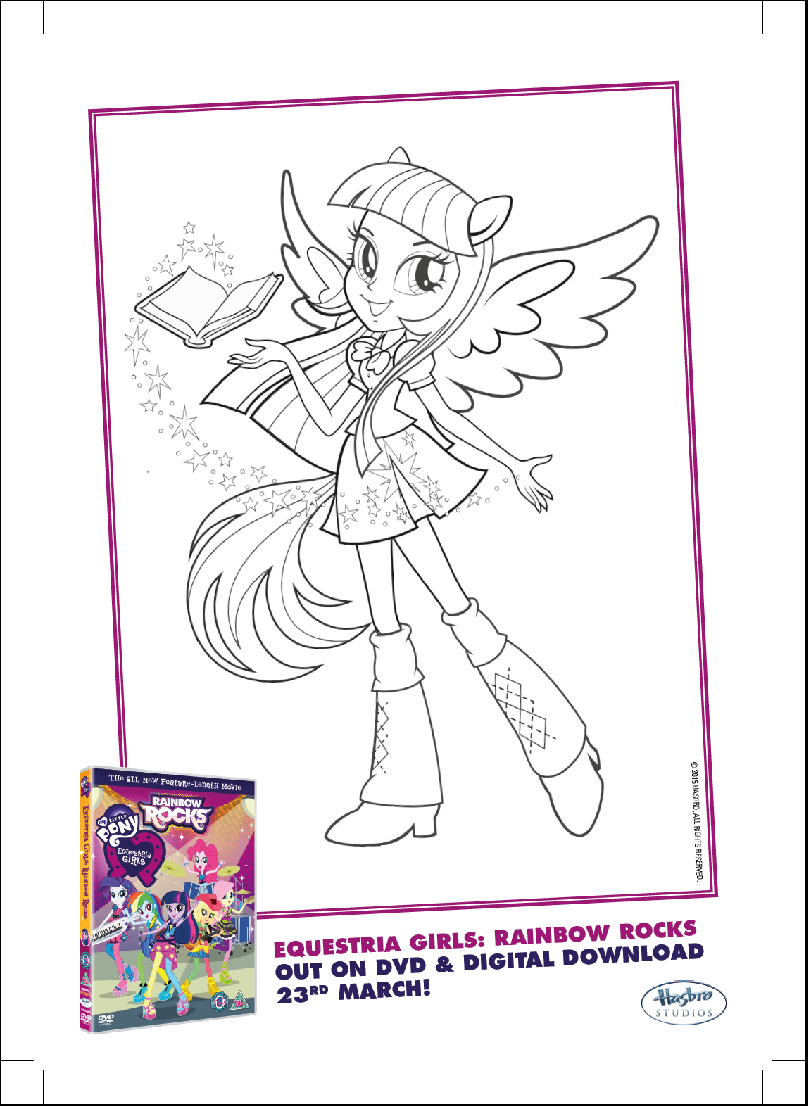 Image Twilight Sparkle Rainbow Rocks coloring pagepng My Little