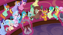 Young Six and students looking at Ocellus S8E15