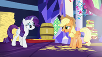 Applejack halfheartedly compliments Rarity S5E3