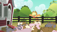Applejack trying to scare the pigs S6E10
