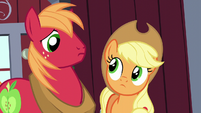 Big Mac and Applejack look at each other S5E17