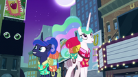 Celestia and Luna in Manehattan at night S9E13