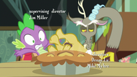 Discord's paw shoving Spike aside S8E10