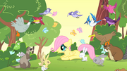 Filly Fluttershy surrounded by her new friends S1E23