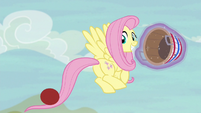 Fluttershy flinging the ball back to Pinkie S6E18