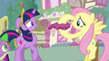 Fluttershy holding whoopee cushion S03E13.png