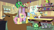 Fluttershy sees deer crossing in front of screen S7E5