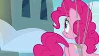 Pinkie Pie looks toward the Wonderbolt barracks S7E23