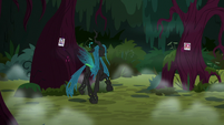 Queen Chrysalis giddily prancing in the forest S8E13