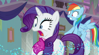 Rainbow and Rarity shocked to see Spike S8E17