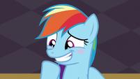 Rainbow blushing and smiling S5E15
