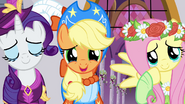 Rarity, Applejack, and Fluttershy about to cry S03E13