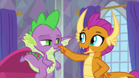 Smolder poking Spike's nose S9E9