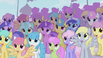 The ponies are admiring Rainbow Dash S1E03