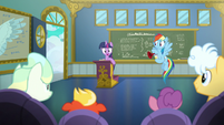 Twilight Sparkle greeting the students S6E24