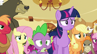 Twilight and ponies looking worried at Pinkie S6E15