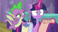 Twilight shocked by Spike's words S9E16